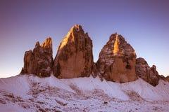 Drei Zinnen Lavaredo, montañas de las dolomías Imágenes de archivo libres de regalías