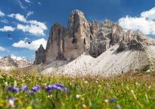 Drei Zinnen o Tre Cime di Lavaredo, alpi di Italien Fotografie Stock Libere da Diritti