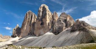 Drei Zinnen o Tre Cime di Lavaredo, alpi di Italien Immagini Stock