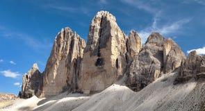 Drei Zinnen o Tre Cime di Lavaredo, alpi di Italien Fotografie Stock