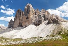 Drei Zinnen o Tre Cime di Lavaredo, montañas de Italien Foto de archivo libre de regalías
