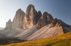 Drei Zinnen o Tre Cime di Lavaredo, montañas italianas Imagen de archivo