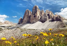 Drei Zinnen o Tre Cime di Lavaredo, montañas italianas Imagenes de archivo