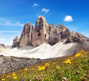 Drei Zinnen oder Tre Cime di Lavaredo Lizenzfreies Stockbild