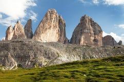Drei Zinnen oder Tre Cime di Lavaredo, Italien-Alpen Lizenzfreie Stockfotos