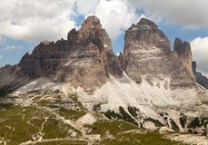 Drei Zinnen ou Tre Cime di Lavaredo com céu bonito Foto de Stock Royalty Free