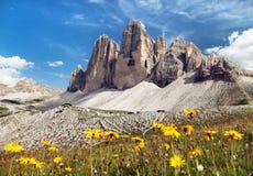 Drei Zinnen ou Tre Cime di Lavaredo, cumes italianos Imagens de Stock
