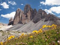 Drei Zinnen ou Tre Cime di Lavaredo, cumes italianos Imagem de Stock