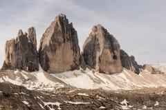 Drei Zinnen peaks in Dolomites Stock Images
