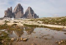 Drei Zinnen peaks in Dolomites Stock Photo