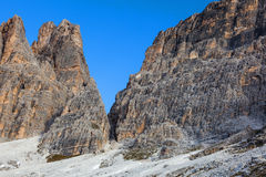 Drei Zinnen rock wall Royalty Free Stock Images