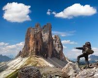 Drei Zinnen or Tre Cime di Lavaredo with hiker Stock Photos