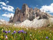 Drei Zinnen of Tre Cime di Lavaredo, Italiaanse Alpen Stock Afbeelding