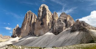 Drei Zinnen of Tre Cime di Lavaredo, Italien-Alpen Stock Afbeeldingen