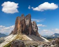 Drei Zinnen of Tre Cime di Lavaredo met mooie wolk Royalty-vrije Stock Afbeelding