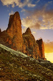 Drei Zinnen or Tre Cime di Lavaredo Royalty Free Stock Images