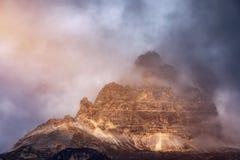 Drei Zinnen of Tre Cime di Lavaredo, Sextener Dolomiten of Dolom Stock Afbeelding
