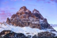 Drei Zinnen of Tre Cime di Lavaredo, Sextener Dolomiten of Dolom Royalty-vrije Stock Foto's