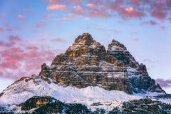 Drei Zinnen of Tre Cime di Lavaredo, Sextener Dolomiten of Dolom Stock Fotografie