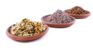 Dreid Herbals in Ceramische Schotels royalty-vrije stock afbeeldingen