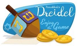 Dreidel de madera con las monedas de oro de Gelt para los juegos de Jánuca, ejemplo del vector