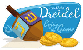Dreidel di legno con le monete dorate di Gelt per i giochi di Chanukah, illustrazione di vettore