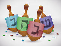 Dreidel Game with Colorful Confetti, Vector Illustration Stock Photography