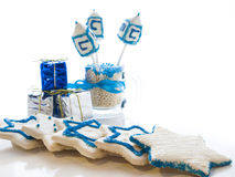 Dreidels. Gourmet dreidels decorated with white icing for Hanukkah Stock Photos