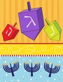 Dreidels en Menorahs vector illustratie