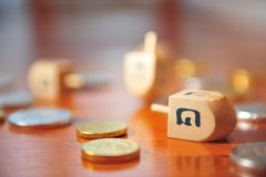 Dreidels and Gelt stock image