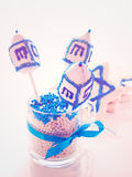 Dreidels. Gourmet dreidels decorated with white icing for Hanukkah Royalty Free Stock Images