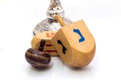 Dreidels for Hanukkah ,Made of wood Stock Image