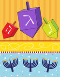 Dreidels and Menorahs. Vector illustration of dreidels and menorahs on a colorful background. Eps 10 fully editable Royalty Free Stock Photography