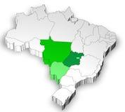 Dreidimensionale Karte von Brasilien mit Nordregion Stockbild