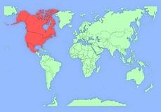 Dreidimensionale Karte von Nordamerika getrennt. Lizenzfreies Stockfoto