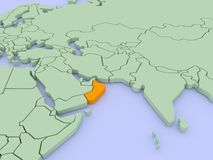 Dreidimensionale Karte von Oman getrennt. 3d Stockbilder
