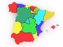 Dreidimensionale Karte von Spanien. 3d Stockbild