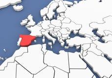 Dreidimensionale Karte von Spanien. 3d Stockfotos