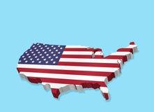 Dreidimensionale Karte von USA und von amerikanischer Flagge lizenzfreie abbildung
