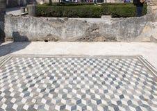 Dreidimensionaler Fliesenboden des Mosaiks im Haus des Fauns, Scavi-Di Pompeji Stockfotos