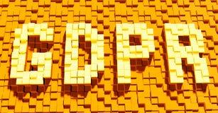 Dreidimensionaler Text von GDPR, das vorgeschriebene Privatlebengesetz des allgemeine Daten-Schutzes, das Internet-Verwirrung, Wi Lizenzfreie Stockfotos