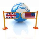 Dreidimensionales Bild des Drehkreuzes und der Flaggen von USA und von Großbritannien Stockfoto