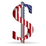 Dreidimensionales Kennzeichen, der amerikanische Dollar Stockfotografie