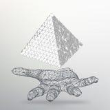 Dreieck-geometrischer Hintergrund Abstrakte chaotische Pyramide 3d auf dem Arm Vektorabbildung EPS10 Stockfoto