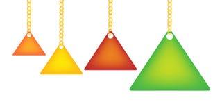 Dreieck-Kennsatz, der ein eine Goldenl Kette anhält Stockbilder