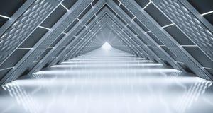 Dreieck-Sciencefictions-Korridor mit beleuchteter Gitter-Masche Stockfotos