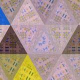 Dreiecke kaleidoscop Muster mit Stickereieffekt in der Pastellfarbe stockbilder