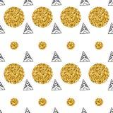 Dreiecke und goldene Kreise, Paillette Nahtloses Muster Geometrischer, abstrakter Hintergrund Gekritzelformen Stockbild