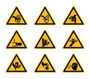 Dreieckige warnende Gefahrensymbolaufkleber lokalisieren auf weißem Hintergrund, Vektor-Illustration lizenzfreie abbildung