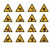 Dreieckige warnende Gefahrensymbolaufkleber lokalisieren auf weißem Hintergrund, Vektor-Illustration stock abbildung